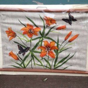 Orange Tiger Lily Textile art NEW burlap scroll